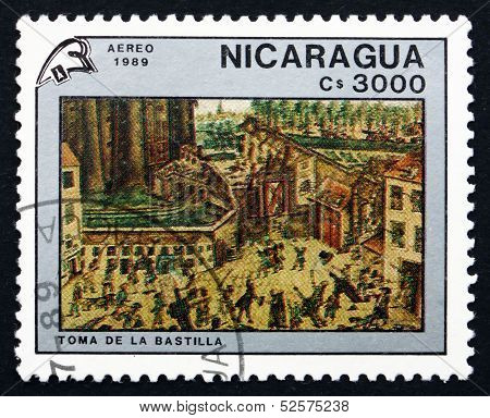 Postage Stamp Nicaragua 1989 Storming The Bastille, Painting