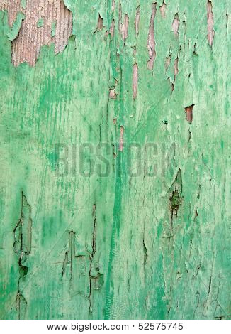 Close-up of old green-painted wood as background