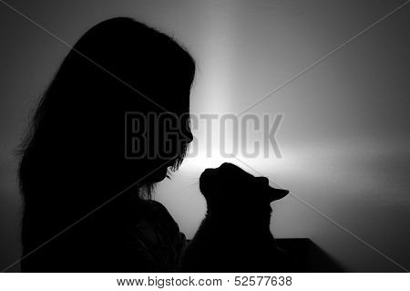 Silhouette Of Woman Face With Cat