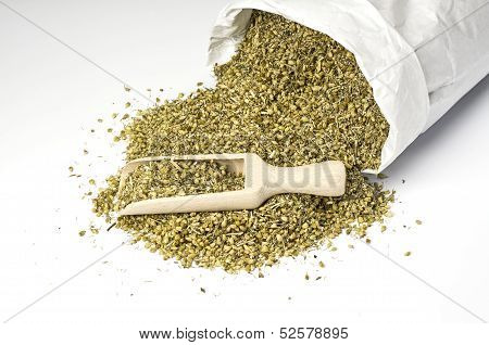 Paper bag with dried yarrow