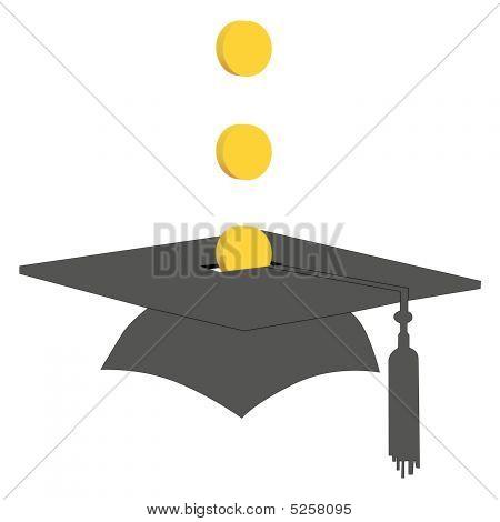 Monedas excepto en Colegio graduación fondo Banco