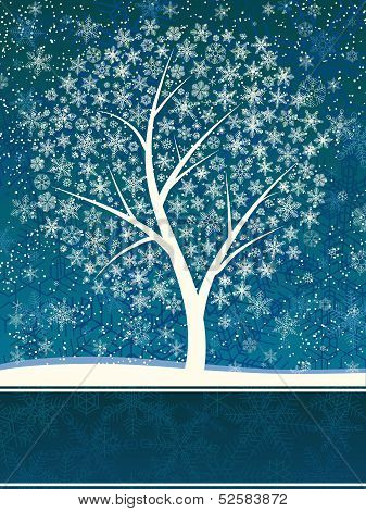 Winter Card Of Snowfall With Snow Tree.