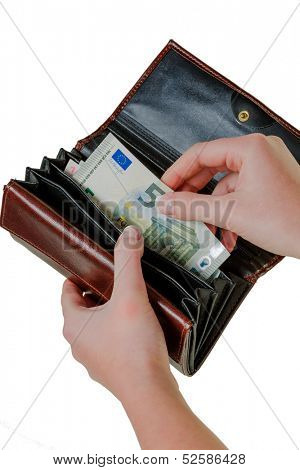 in a wallet, there are some euro banknotes. money is scarce, the new poverty.