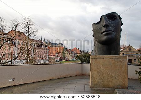 Cityscape With Old Houses And Modern Sculpture , Bamberg, German