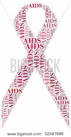 Tag Or Word Cloud World Aids Day Related In Shape Of Red Ribbon