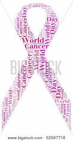 Tag Cloud World Cancer Day Related In Shape Of Pink Ribbon