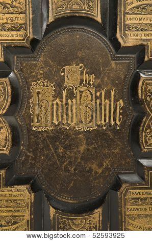 Antique Bible Cover Text