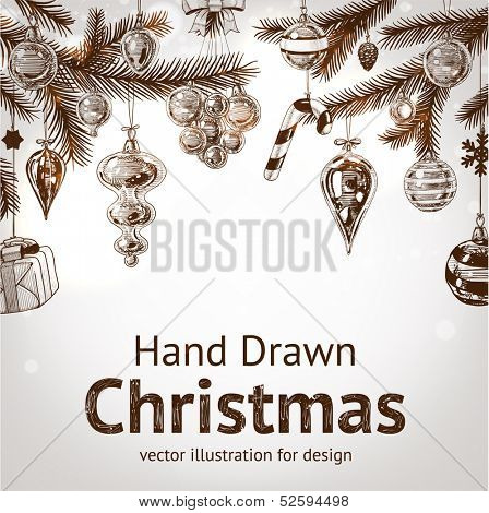 Christmas hand drawn fur tree for xmas design. With balls, toys and fir-cone. Holiday vector.