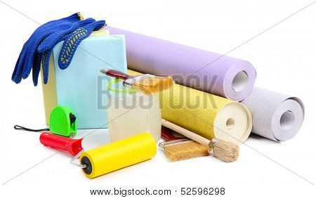 Wallpaper and accessories for glue wallpaper, isolated on white