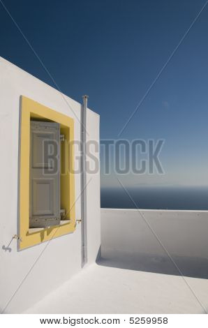 Greek Island Architecture Overlooking The Aegean Sea