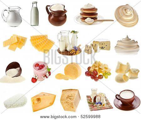 conjunto de coleta de produtos de leite de vaca, queijo, requeijão, chalé fechar isolado no fundo branco