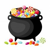 stock photo of cauldron  - Halloween colorful candies in old witches cauldron - JPG