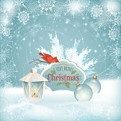 pic of fir  - Vector Christmas snow background - JPG