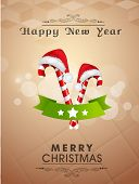 Poster, banner or flyer design with shiny Santa cap and cane for Merry Christmas & Happy New Year pa