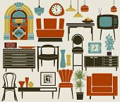 stock photo of settee  - Retro Furniture - JPG