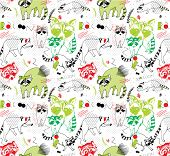 stock photo of raccoon  - seamless pattern with raccoons - JPG