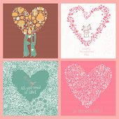 Four romantic backgrounds made of flowers in vector set. Bright floral cards with rabbits, birds and