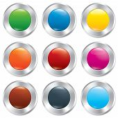 Metallic buttons template set. Realistic icons.