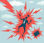 picture of bolt  - illustration of Retro styled Businessman who has got a big shock from a huge bolt of lightening - JPG