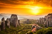 image of hermit  - Meteora Roussanou Monastery at sunset - JPG