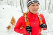image of akita-inu  - Woman hiking in white winter forest with dog akita inu - JPG