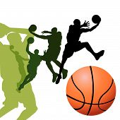 Basketball Players On White Background poster