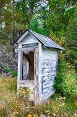 foto of outhouse  - Dilapidated Outhouse in the Rural Wisconsin Countryside - JPG