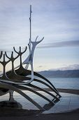 image of metal sculpture  - Metal sculpture by the sea in Reykjavik Iceland - JPG