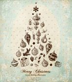 Christmas Tree Made of Xmas engraved icons and hand drawn elements, vintage old paper texture, flora