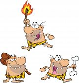 stock photo of caveman  - Happy Caveman Characters Collection Set art and illustration - JPG