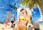 pic of bimbo  - Young woman on the beach Travel concept - JPG