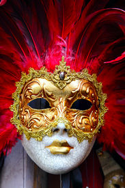 picture of venice carnival  - Traditional carnival mask close - JPG