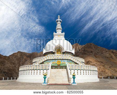 Tall Shanti Stupa Near Leh - Jammu And Kashmir - Ladakh - India