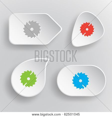 Circ saw. White flat vector buttons on gray background.