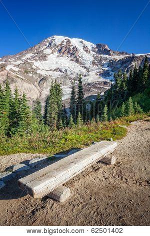 Bench And Mount Rainier