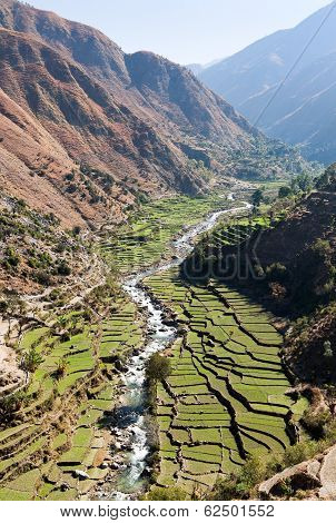 Valley With Rice Field And River In Western Nepal