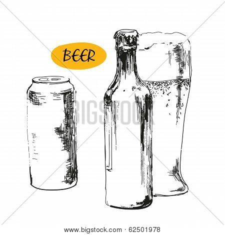 Glass of beer, beer bottles and cans