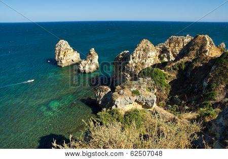 Ponta Da Piedade, Natural Formation In Algarve´s Coast Near Lagos Town, Portugal