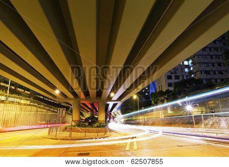Traffic passing through viaduct