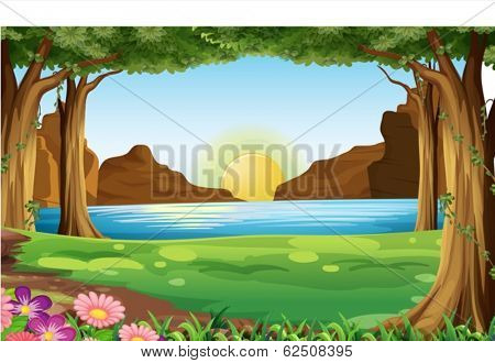 Illustration of a river and forest