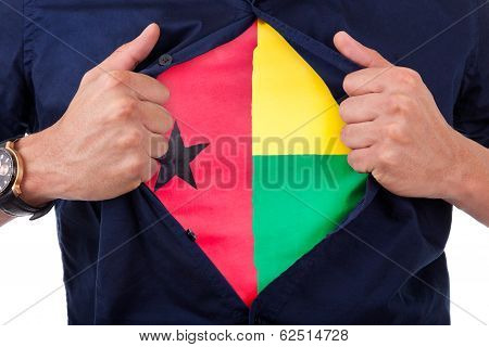 Young Sport Fan Opening His Shirt And Showing The Flag His Country Guinea-bissau, Bissau-guinean Fla