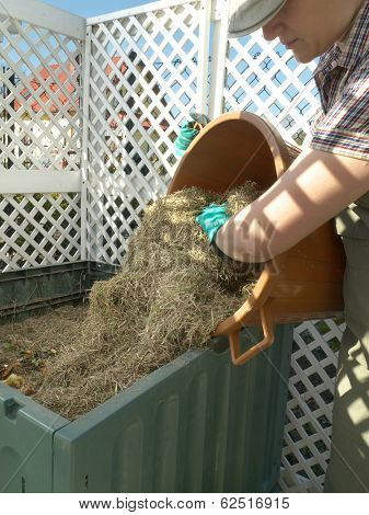 Female gardener dumping cut lawn grass into green plastic compost bin