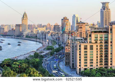 Beautiful Shanghai Bund At Dusk