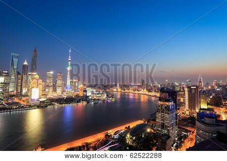 Shanghai Panoramic View At Night