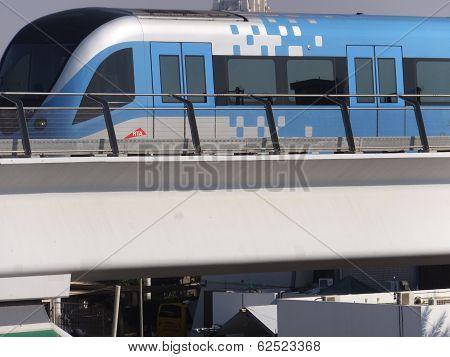 Train approaching Oud Metha Metro Station in Dubai, UAE
