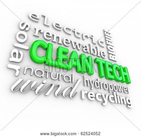 Clean Tech 3D Word Background Renewable Power Energy Business
