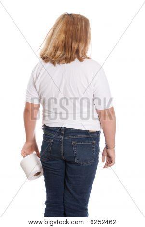 Girl Holding Toilet Paper