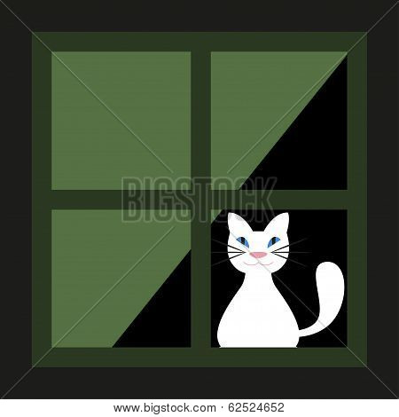 Cute White Cat Behind A Curtain In The Window. Vector Illustration