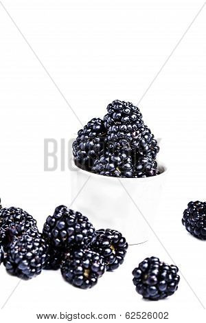 Heap Of Fresh Blackberries In A Bowl Isolated On White Background, Close Up. Summer Berries, Selecti