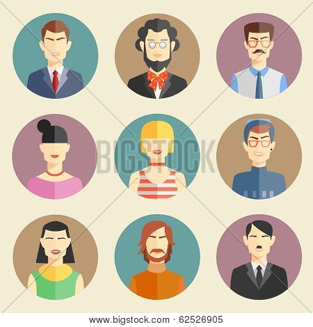 Vector set of stylish handsome male characters